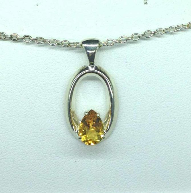 5364-106b Citrine pear Sterling Pendant