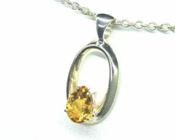 5364-106c Citrine pear Sterling Pendant