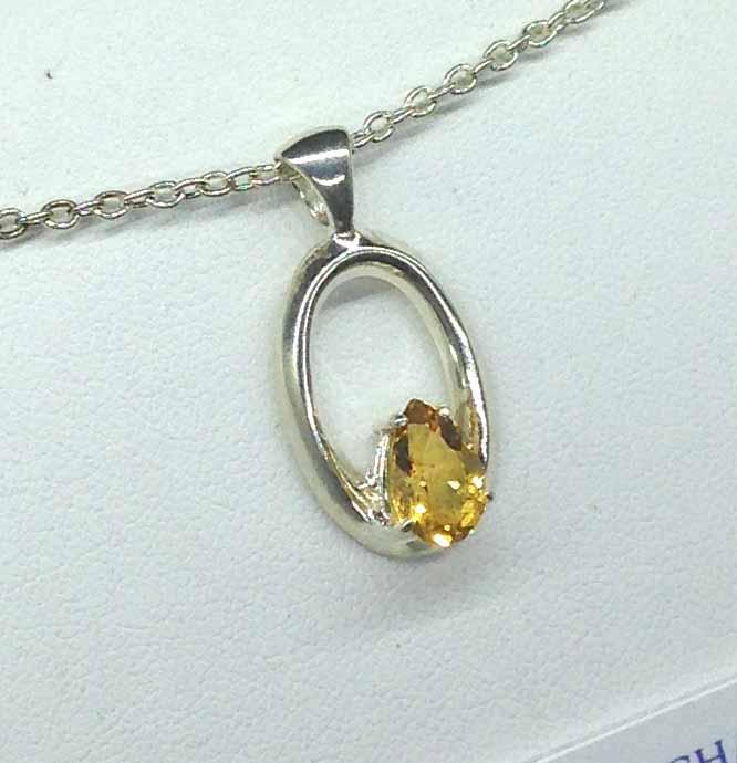 5364-106d Citrine pear Sterling Pendant