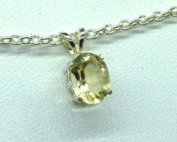 5379b Golden Beryl Oval Sterling Silver Pendant