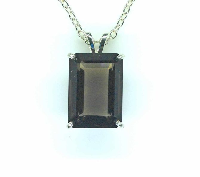 5392 Smoky Quartz CO 18x13 Rect Sterling Pendant