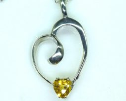 5398-105 Golden Beryl 9x9 Heart Sterling Pendant