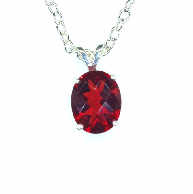 5404 Red Helenite 10x8 Oval Sterling Pendant