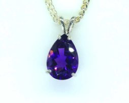 5405 Amethyst BR 13x9 Pear Sterling Pendant