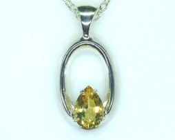 5407-106 Golden Beryl 10x7 Pear Sterling Pendant