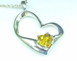 5414-105 Golden Beryl 9x9 Heart Sterling Pendant