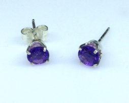 4227b Amethyst AZ Round Sterling Earrings