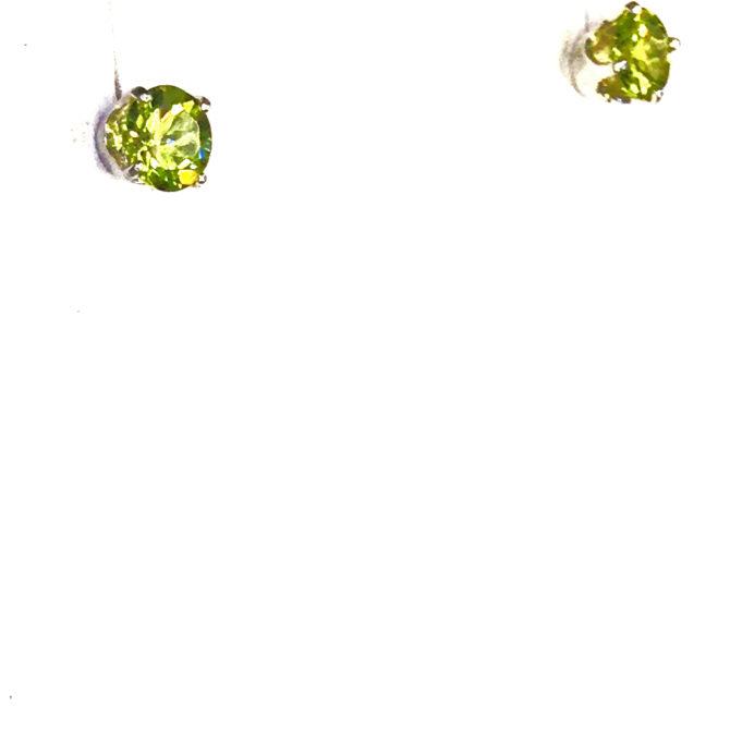 4229b Colorado Peridot 5mm Round Sterling Earrings