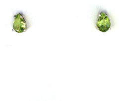 4230b Peridot 7x5 Pear CO Sterling Earrings 2