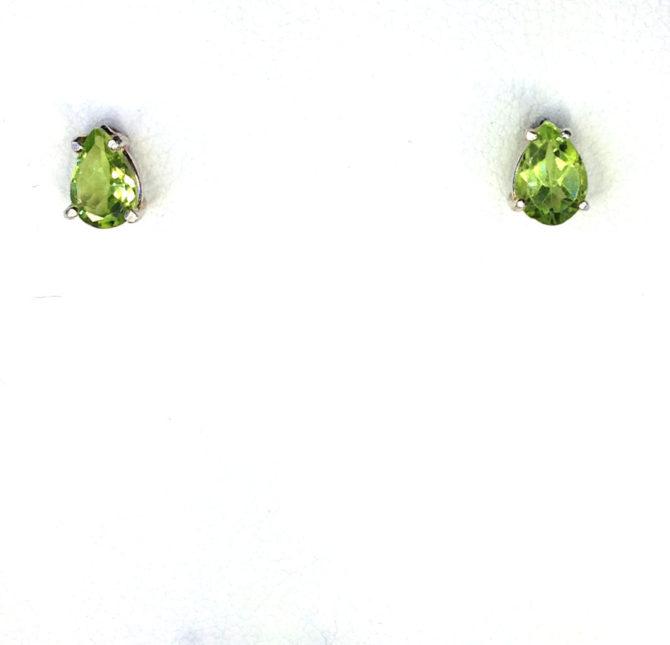 4230b Peridot 7x5 Pear CO Sterling Earrings 2
