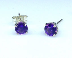 4234a Amethyst AZ Round Sterling Earrings