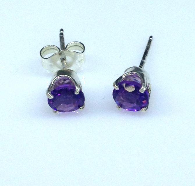 4234c Amethyst AZ Round Sterling Earrings
