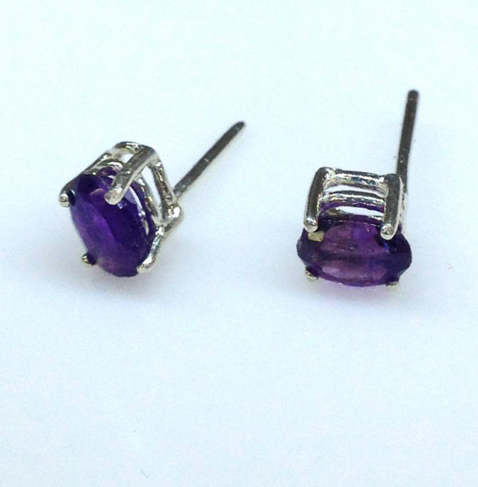 4235d Amethyst AZ Oval Sterling Earrings