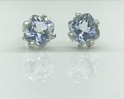 4260a Aqua Round Sterling Earrings