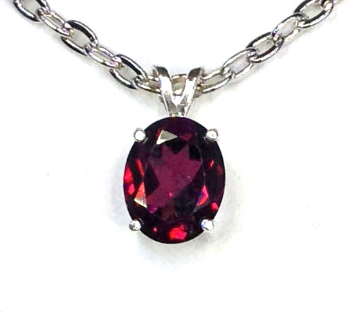 5119 Rhodonite Garnet Oval Sterling Pendant 1