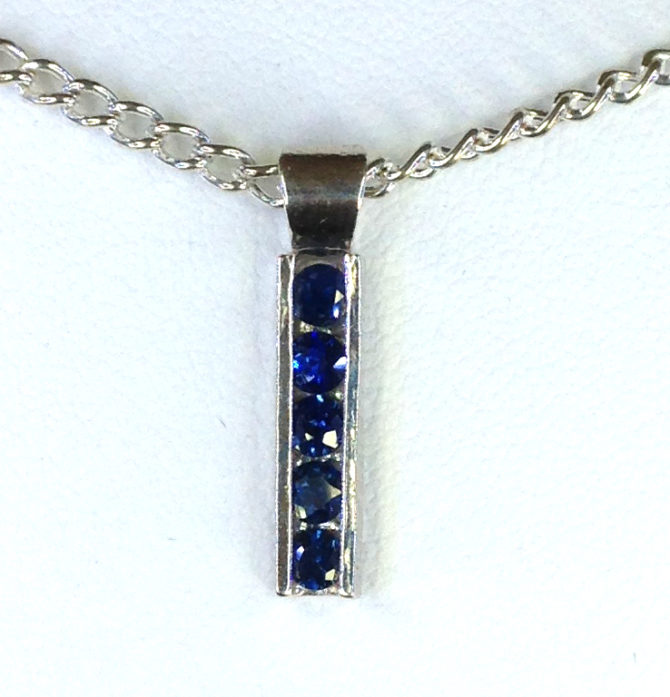 5193a Sapphires Round Sterling Track Pendant