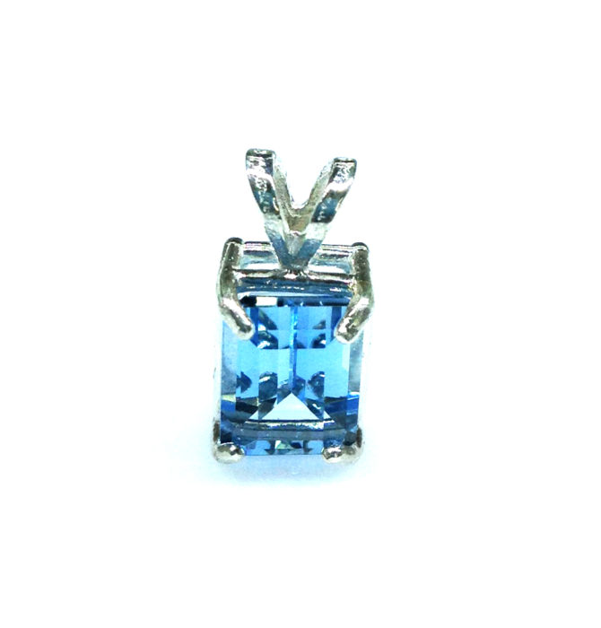 5286a Aqua CO Rectangle Sterling Pendant