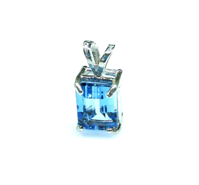 5286c Aqua CO Rectangle Sterling Pendant
