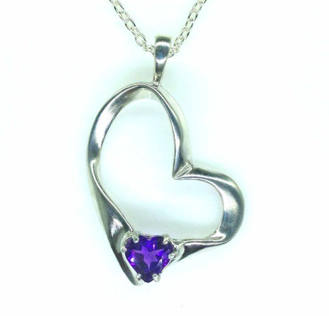 5396-105 Amethyst 9x9 Heart Sterling Pendant