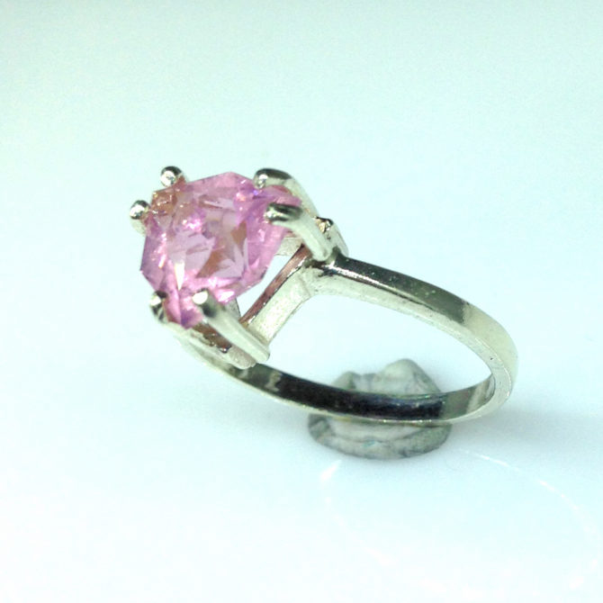 6099f Pink Tourmaline Trillian Sterling Ring
