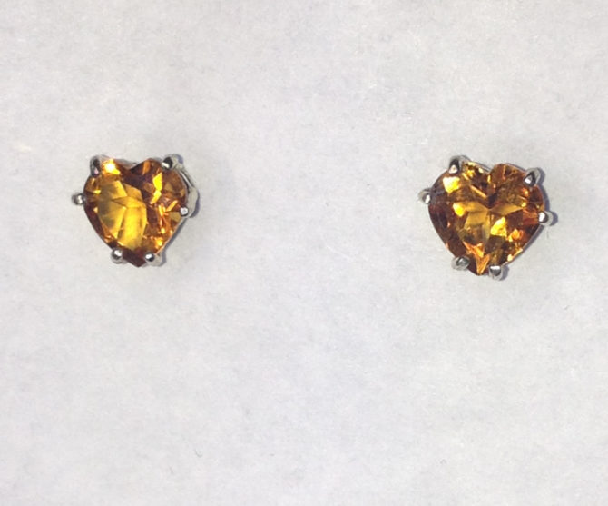 4038 Citrine Heart Posts in Sterling -