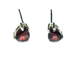 4190a Pyrope Garnet Pear Sterling Earrings