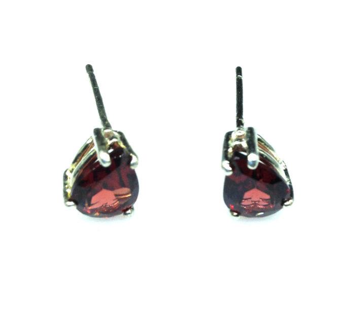 4190a Pyrope Garnet Pear Sterling Earrings