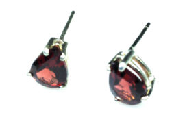 4190c Pyrope Garnet Pear Sterling Earrings