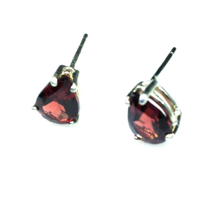 4190c Pyrope Garnet Pear Sterling Earrings