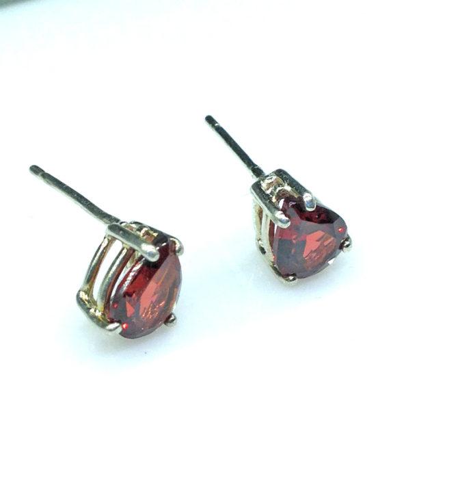 4190e Pyrope Garnet Pear Sterling Earrings