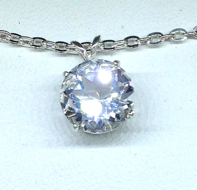 White Quartz Round Sterling Silver Pendant