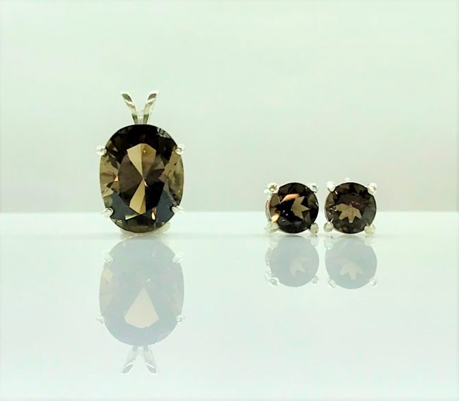 3029a Smoky Quartz Sterling Pendant & Earrings Set