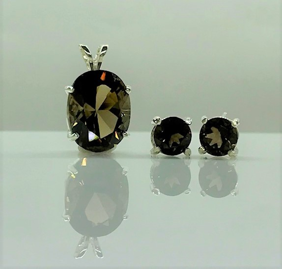 3029c Smoky Quartz Sterling Pendant & Earrings Set
