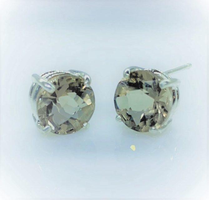 4315 Smoky Quartz CO 8mm Round Sterling earrings