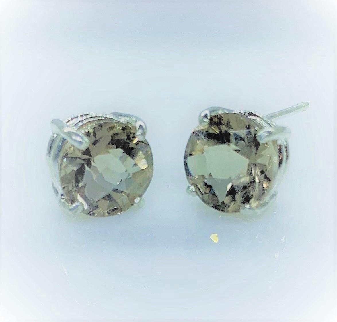 8mm Faceted Rock Quartz Gemstone Post Earrings set in Sterling Silver