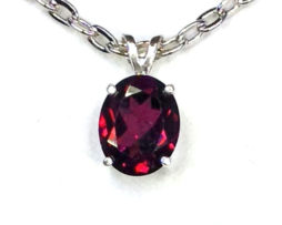 5119 Rhodonite Garnet Oval Sterling Pendant