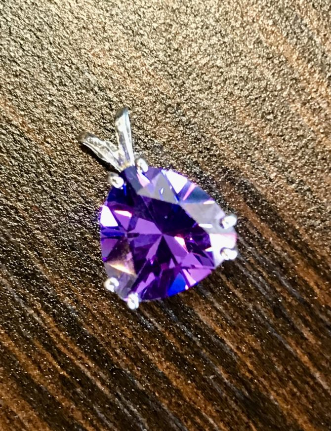 5296 Arizona amethyst triangle sterling silver pendant