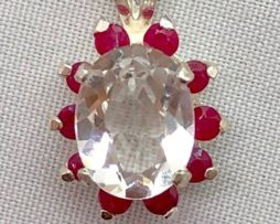 5425 White Topaz and Ruby accents