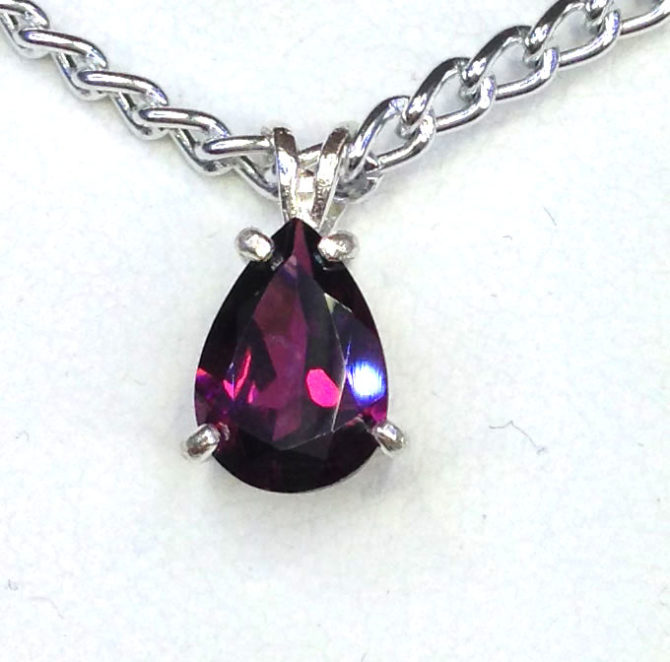 5434a Rhodonite Garnet Pear Sterling Pendant