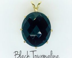 5438d Black tourmaline yellow gold