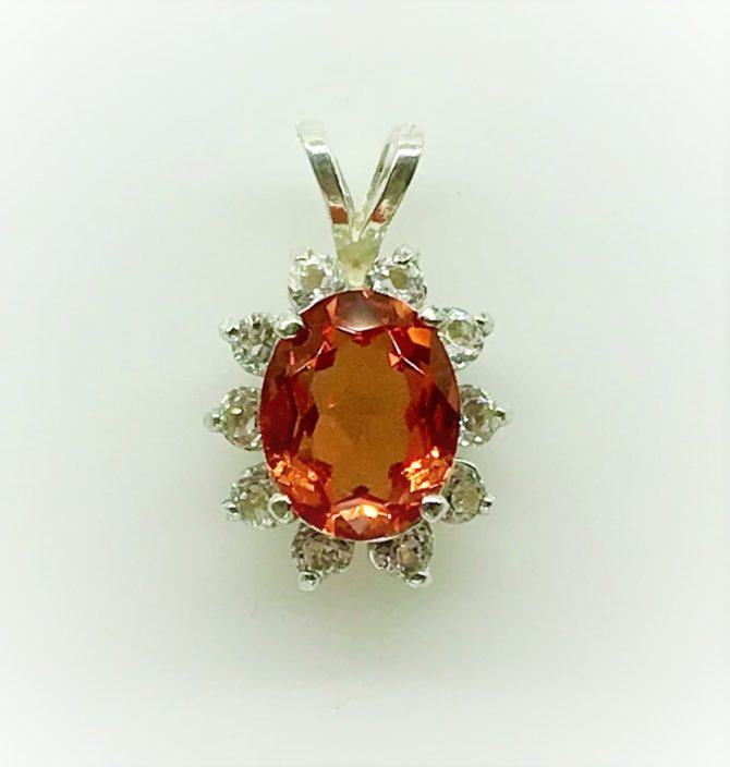 Padparadscha Sapphire Oval Sterling Silver Pendant