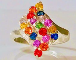 6128 Multiple Sapphire floral Sterling Ring