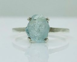 6160 Large Aqua crystal Sterling Ring