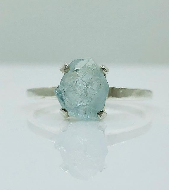 6160 Large Aqua crystal Sterling Ring