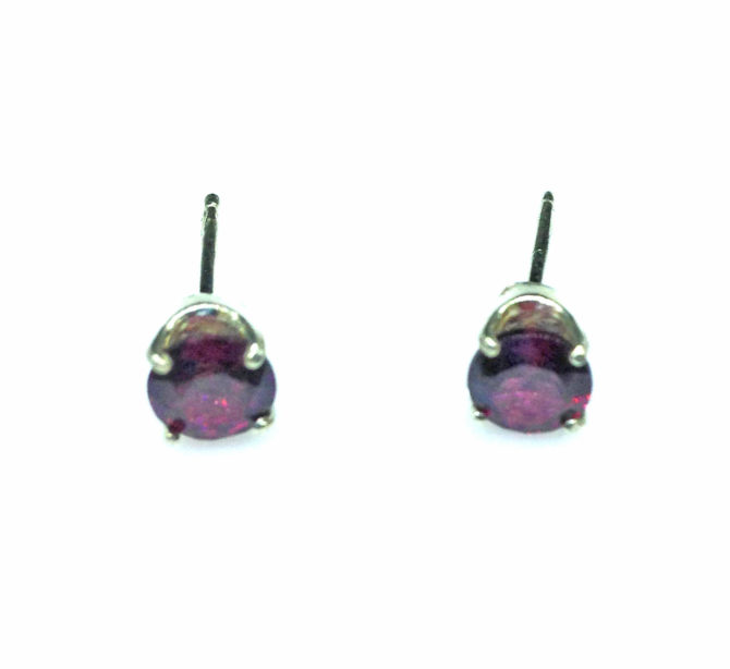 4188a Rhodolite Garnet Round Sterling Earrings