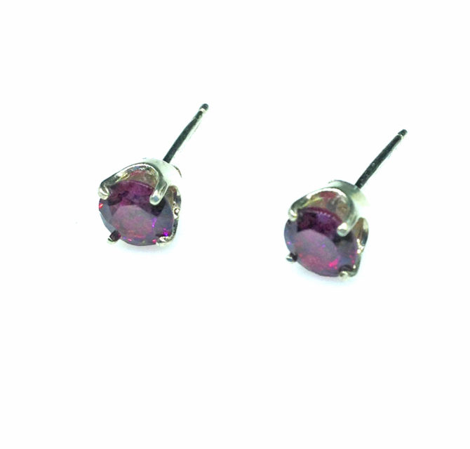 4188b Rhodolite Garnet Round Sterling Earrings