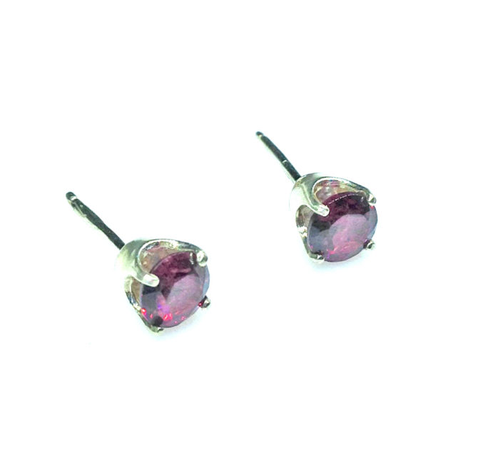 4188c Rhodolite Garnet Round Sterling Earrings