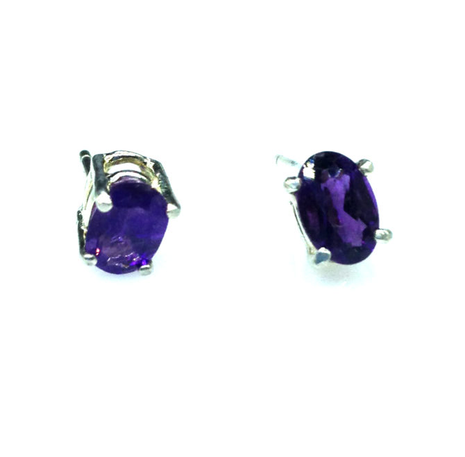 4201a Amethyst AZ Oval Sterling Earrings