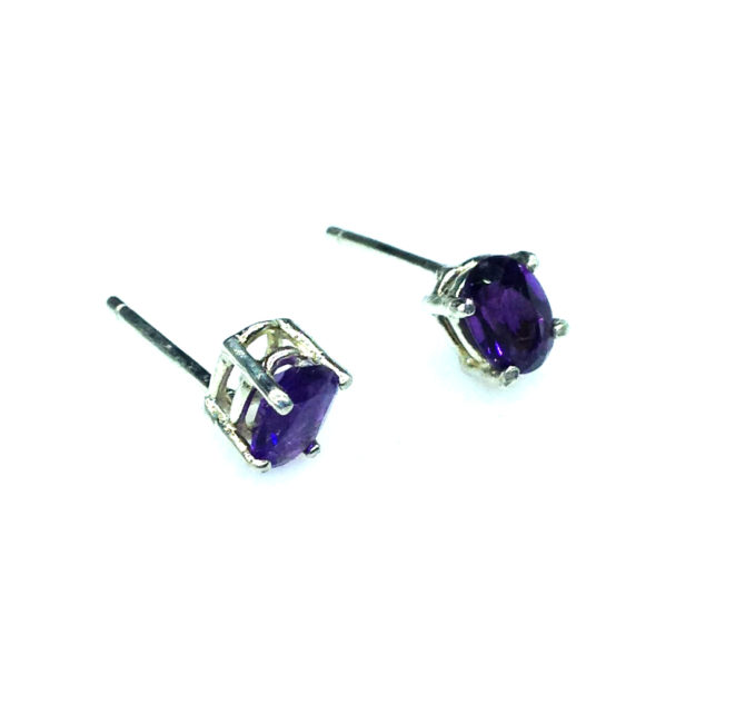 4201b Amethyst AZ Oval Sterling Earrings
