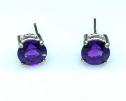 4219a Amethyst AZ Round Sterling Earrings
